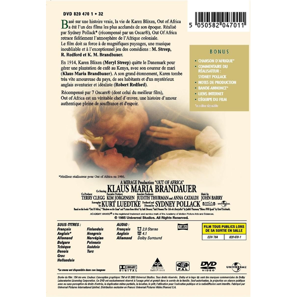 DVD S - Out Of Africa       DVD S/T FR