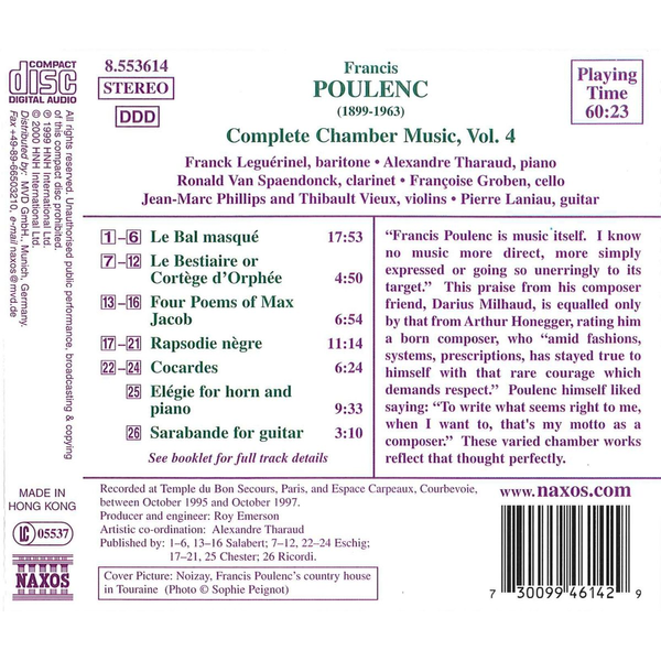 Various Poulenc: Complete Chamber Music, Vol. 4