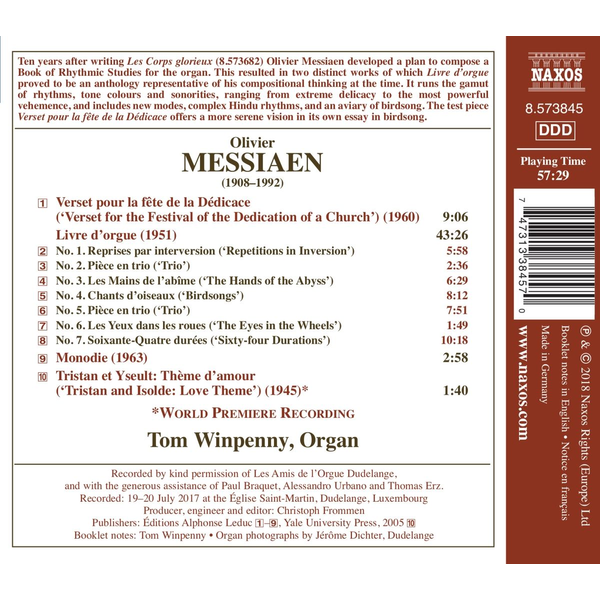 Winpenny,Tom - Messiaen: Livre d'orgue