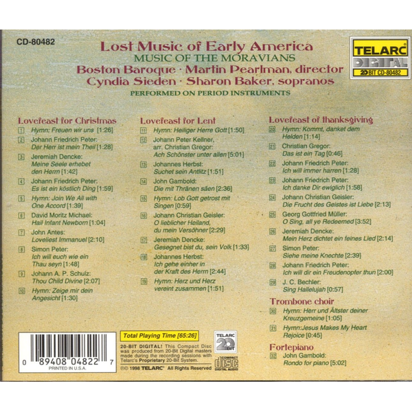 Boston Baroque - Lost Music of Early America: Music of the Moravians