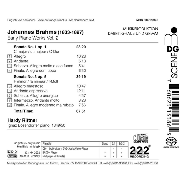 Rittner,Hardy - Brahms, Vol. 2: Early Piano Works