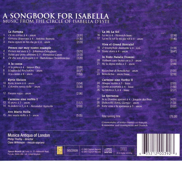 Wilkinson/Thorby/Musica Antiqua Of Londo - Songbook for Isabella