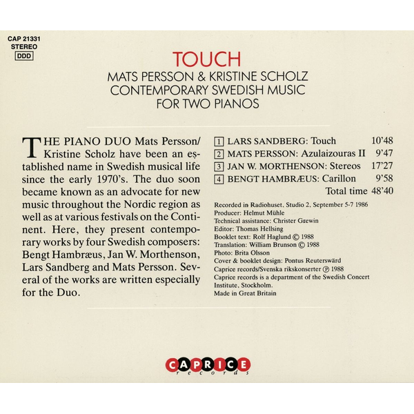 Persson,Mats - Touch-Contemporary Swedish Music