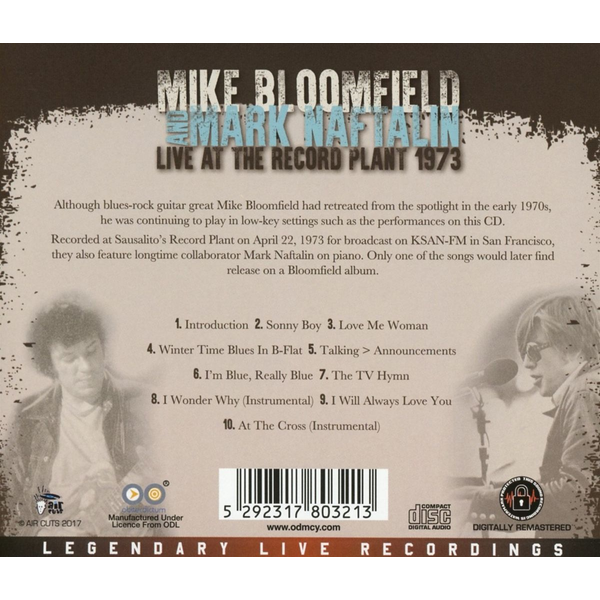 Bloomfield,Mark And Naftalin,Mark - Live at the Record Plant, 1973