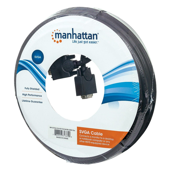 Manhattan - Manhattan SVGA Monitor Cable, HD15, 15m, Male to Male, Compatible with VGA, Fully Shielded, Black, Lifetime Warranty, Polybag