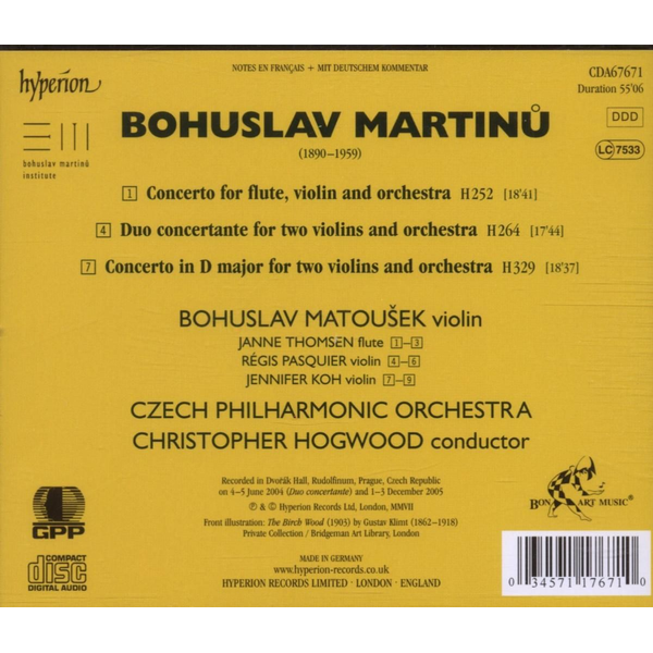 Hogwood/Matousek/Pasquier/TP - Martinu: The Complete Music for Violin and Orchestra, Vol. 1