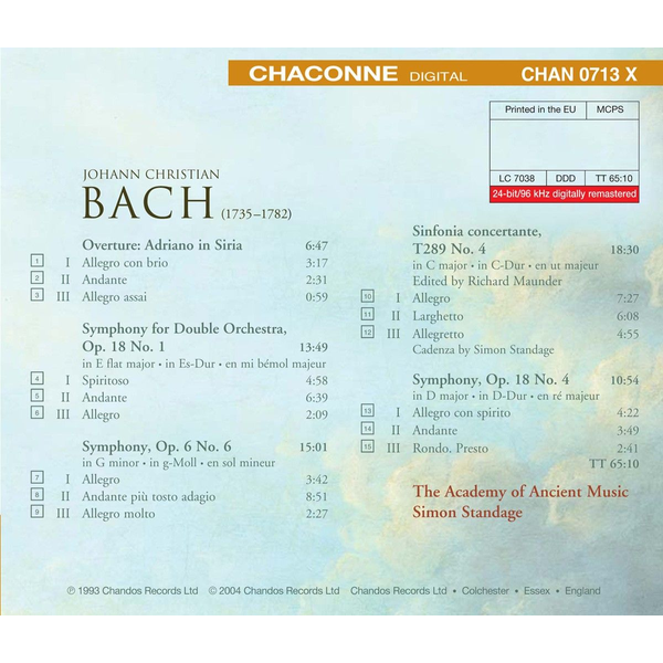 Standage,Simon/AAM - J.C. Bach: Overture, Adriano in Siria; Symphonies; Sinfonia Concertante in C major