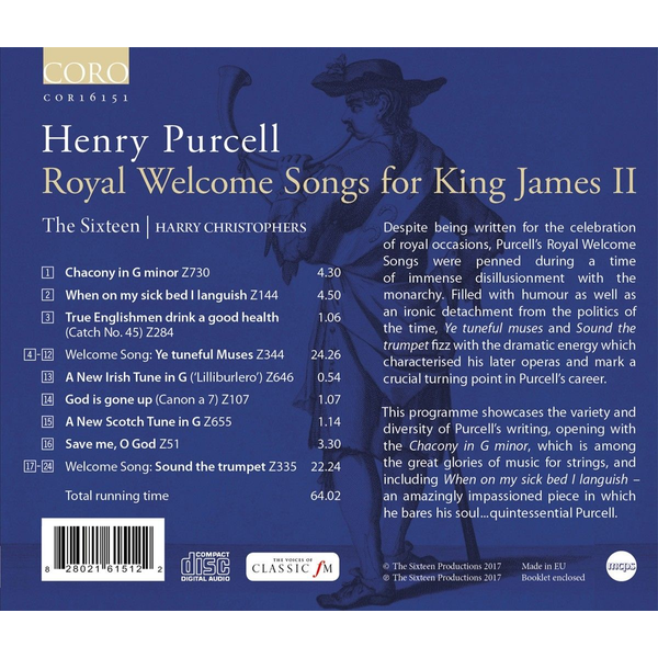 Christophers,Harry/Sixteen,The - Royal Welcome Songs for King James II