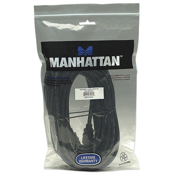 Manhattan - Manhattan HDMI Cable, 1080p@60Hz (High Speed), 10m, Male to Male, Black, Fully Shielded, Gold Plated Contacts, Lifetime Warranty, Polybag