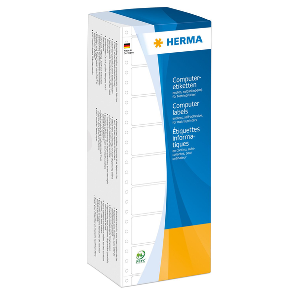 - HERMA Computer labels continous 101.6x48.4 mm 1 row white perforated paper matt 3000 pcs.