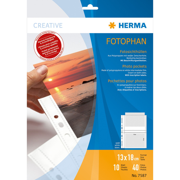 HERMA - HERMA Fotophan transparent photo pockets 13x18 cm landscape white 10 pcs.