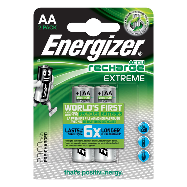 Energizer - Energizer Accu Recharge Extreme 2300 AA BP2 Rechargeable battery Nickel-Metal Hydride (NiMH)