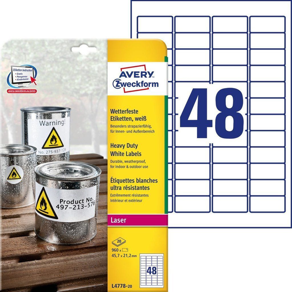 - Avery Zweckform L4778-20 self-adhesive label Rectangle Permanent White 960 pc(s)