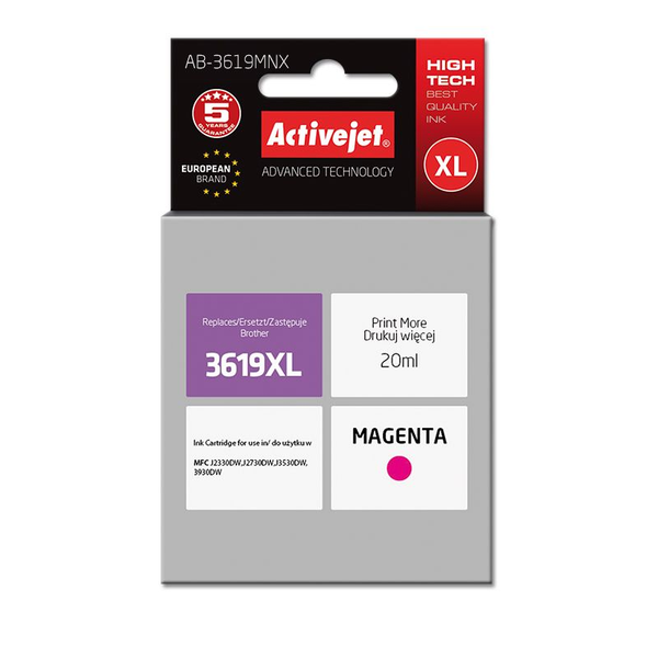 Activejet - Activejet AB-3619MNX ink for Brother printer; Brother LC3619MXL replacement; Supreme; 20 ml; magenta