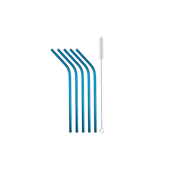 Strawganic - Strawganic 102113 reusable drinking straw Blue Stainless steel 5 pc(s)