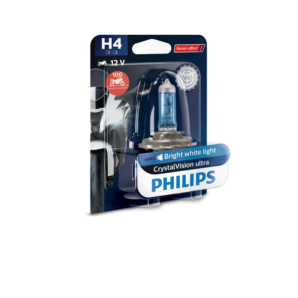 Philips Automotive - Philips CrystalVision Ultra Type of lamp: H4 Pack of: 1 Motorcycle headlights
