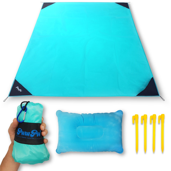 - PuruPoi Super-Lightweight XXL Picnic Blanket + Cushion Combo Set with Triple Effect: Waterproof, Tear-Resistant, Compact for Hiking, Outdoors, Countryside, Beach, Travelling - Pocket Blanket 2019, 180x140 cm, light blue