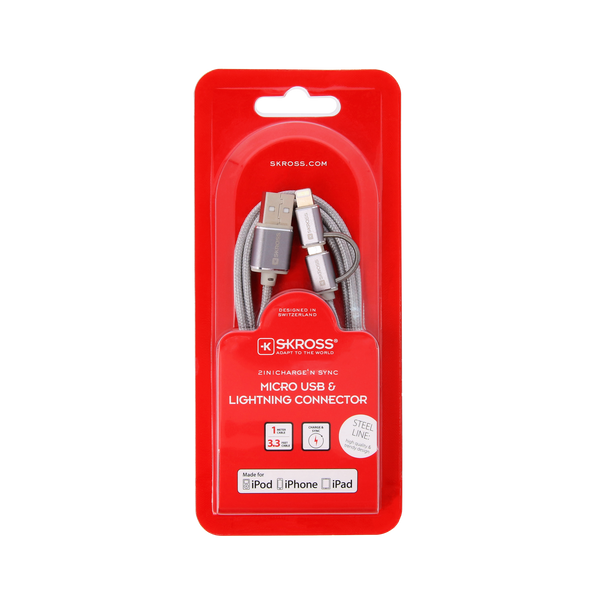 SKROSS - Skross 2in1 Charge'n Sync - Steel Line USB cable 1 m USB A Micro-USB B/Lightning Silver