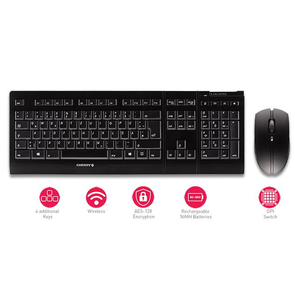 - CHERRY B.UNLIMITED 3.0 Tastatur RF Wireless Deutsch Grau
