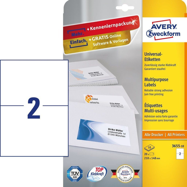 AVERY Zweckform - Avery 3655-10 self-adhesive label Rectangle Permanent White 20 pc(s)