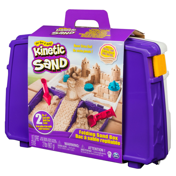 - Kinetic Sand , Folding Sand Box with 2lbs of and Mold and Tools