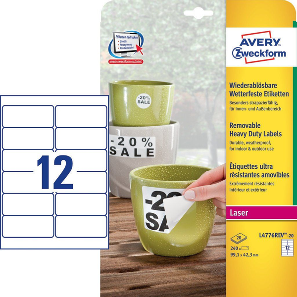 - Avery Zweckform L4776REV-20 self-adhesive label Rounded rectangle Permanent White 240 pc(s)