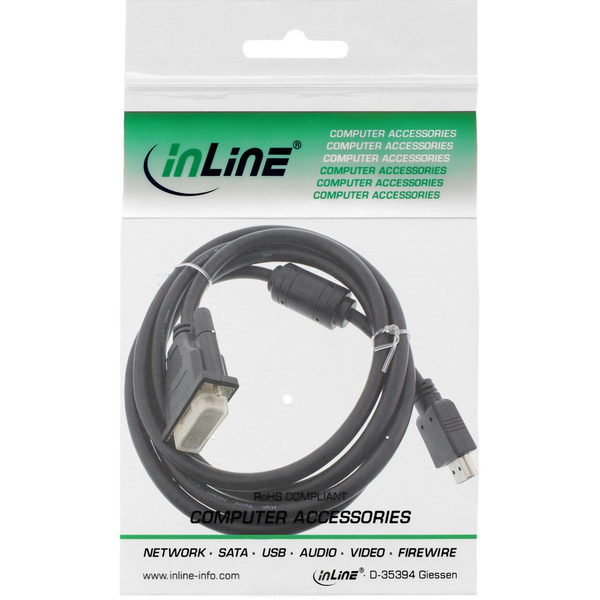 - InLine 17658 video cable adapter 0.3 m HDMI Type A (Standard) DVI Black