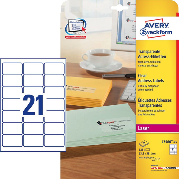 Avery Zweckform - Avery L7560-25 self-adhesive label Rounded rectangle Permanent Transparent 525 pc(s)