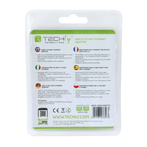 - Techly USB2.0 to Fast Ethernet 10/100 Mbps converter