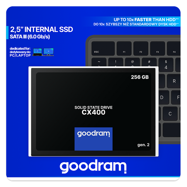 "- Goodram CX400 gen.2 2.5"" 256 GB Serial ATA III 3D TLC NAND"