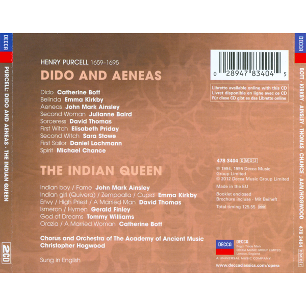 Bott - Dido And Aeneas/The Indian Queen