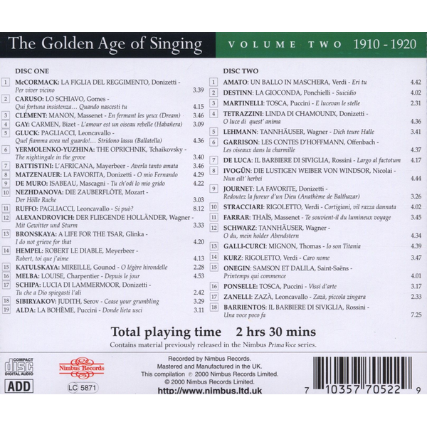 Various - Golden Age of Singing Vol.2 (1910-20)