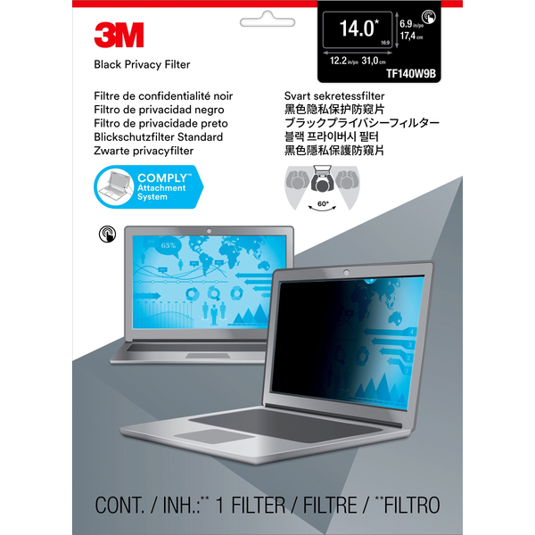 """- 3M Touch Privacy Filter for 14"""" Widescreen Laptop - Standard Fit, Notebook, Frameless display privacy filter, Black, Anti-glare, LCD, 16:9"""