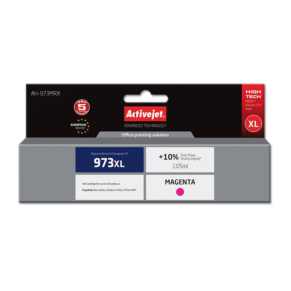 Activejet ink for Hewlett Packard No.973XL F6T82AE, Compatible, Magenta, HP, HP PageWide Pro: 452dw, 452dwt, 477dw, 477dwt MFP., 1 pc(s), High (XL) Yield