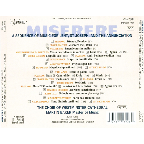 Westminster Cathedral Choir - Miserere