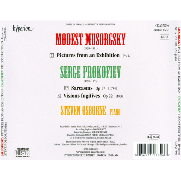 Osborne,Steven - Musorgsky: Pictures from an Exhibition; Prokofiev: Visions Fugitives; Five Sarcasms