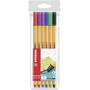 STABILO Point 88 fineliner Black, Blue, Green, Lilac, Red, Violet 6 pc(s)